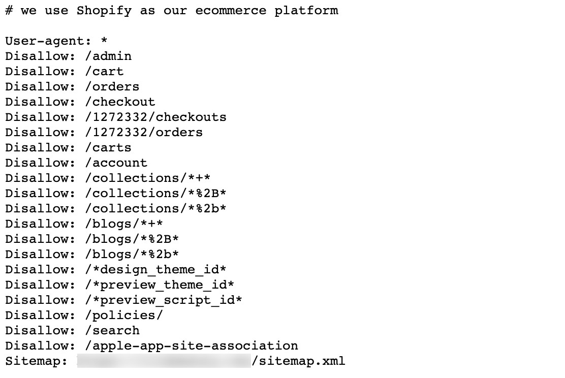 An example robots.txt file in Shopify
