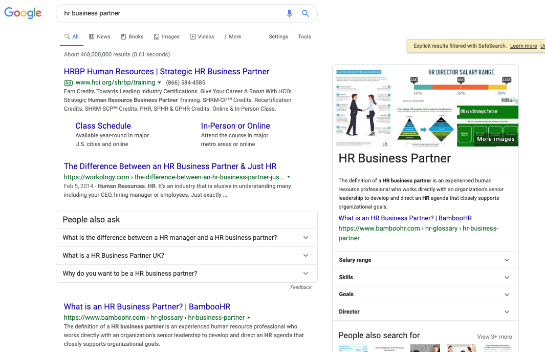 "Featured snippet won for ""hr business partner"""